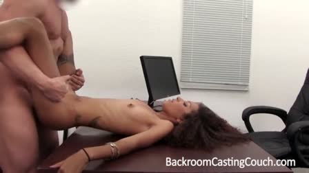 Brunette college student Karlee Grey swallows and rides Shawns cock