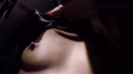 Brunette model in sexy panties masturbating in the