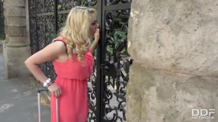 Busty blond Kristen Kross double stuffed by big black cocks
