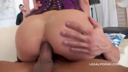 Young girlfriend with hot tits gets horny for anal